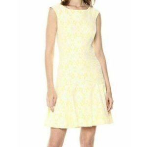 Nanette Lepore Yellow White Lace Overlay Dress 10